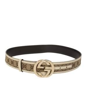 Gucci Beige/Cream GG Canvas and Leather Interlocking G Buckle Belt 85CM