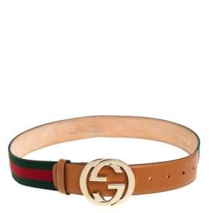 Gucci Tan/Green Canvas and Leather Web Interlocking G Buckle Belt 80CM