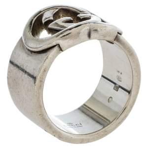 Gucci Sterling Silver Interlocking GG Band Ring Size EU 57