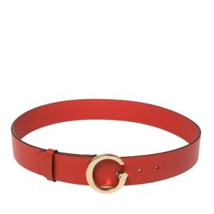 Gucci Red Leather G Logo Buckle Belt 85CM
