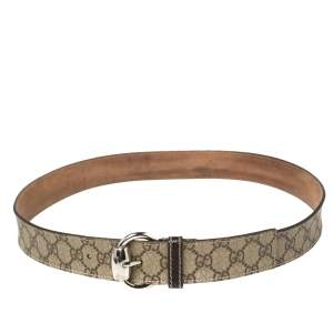 Gucci Brown/Beige GG Supreme and Leather Trim Buckle Belt 95CM