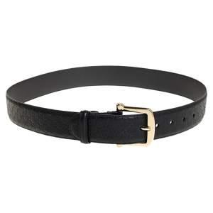 Gucci Black Microguccissima Leather Buckle Belt 90CM