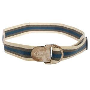 Gucci White/Blue/Green Web Belt With Engraved Gucci Script Logo D Ring Buckle 90 CM