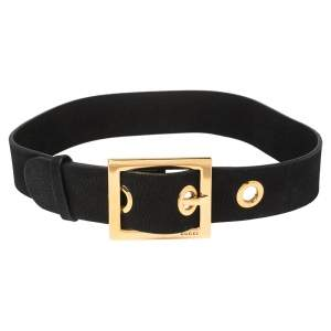 Gucci Black Leather Square Buckle Waist Belt 80CM