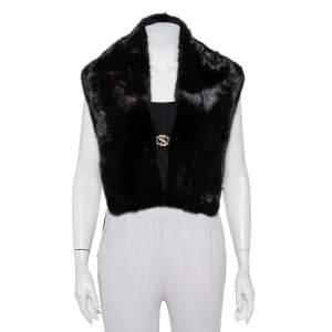 Gucci Black Mink Fur Logo Brooch Detail Shrug (One Size)