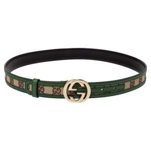 Gucci Green/Beige GG Canvas and Leather Interlocking G Buckle Belt 85CM