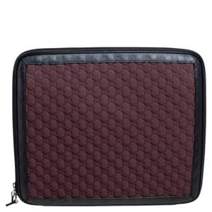 Gucci Burgundy/Black GG Neoprene and Leather Laptop Case