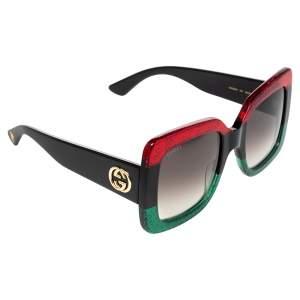 Gucci Red/Green Glitter GG0083S Oversized Square Sunglasses