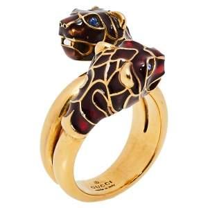 Gucci Tiger Double Head Enamel Gold Tone Wrap Ring 17