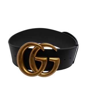 Gucci Black Leather GG Marmont Buckle Waist Belt 85 CM