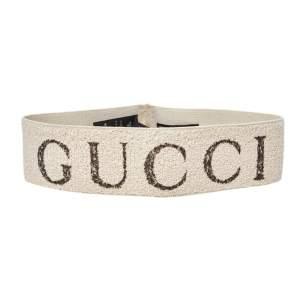 Gucci Beige Logo Printed Elastic Head Band