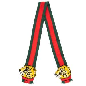 Gucci Multicolor Web Striped Leopard Printed Frayed Edge Twilly