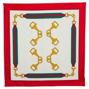 Gucci Cream Ribbon Frame Silk Square Scarf