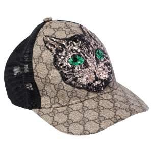 Gucci Beige Mystic Cat Embellished Canvas & Mesh Baseball Cap