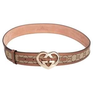 Gucci Metallic Beige GG Canvas and Leather Trim GG Heart Buckle Belt 90CM