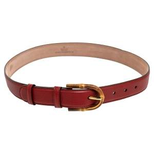 Gucci Burgundy Leather Bamboo Buckle Belt 75 CM