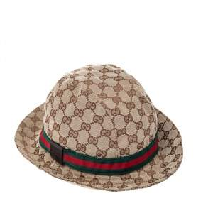 Gucci Beige Web Detail GG Canvas Bucket Hat S