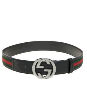 Gucci Black/Green Canvas and Leather Web Interlocking G Buckle Belt 80CM