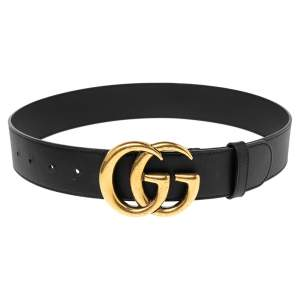Gucci Black Leather Double G Buckle Belt 70CM