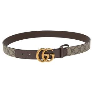 Gucci Beige GG Supreme and Leather GG Marmont Buckle Belt 100CM