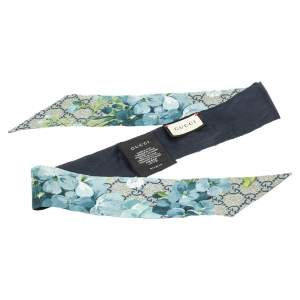 Gucci Blue GG Blooms Print Silk Twilly