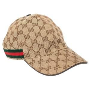Gucci Beige GG Canvas Web Striped Baseball Cap M