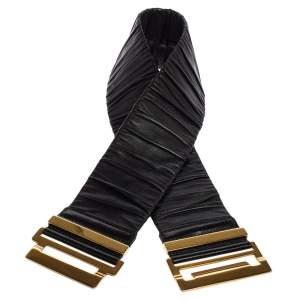 Gucci Black Pleated Leather Elastic Waist Belt 70CM