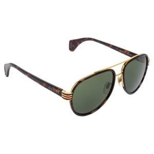 Gucci Green/Brown Tortoise GG0447S Aviators Sunglasses