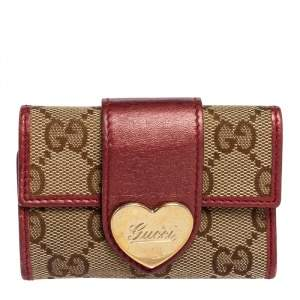 Gucci Beige/Metallic GG Canvas and Leather Heart 6 Key Holder Case