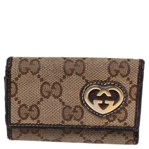 Gucci Beige/Ebony GG Canvas Key Case Holder