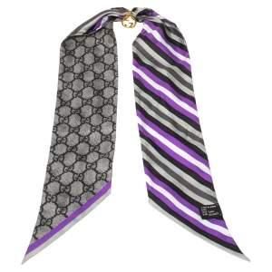 Gucci Multicolor Striped & Logo Monogram Charm Detail Silk Twilly