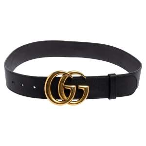 Gucci Black Leather GG Marmont Buckle Belt 75CM