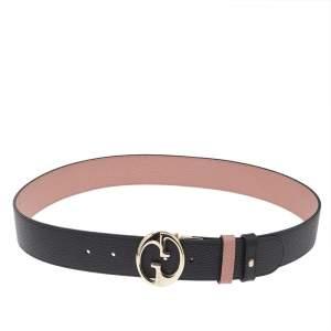 Gucci Black/Pink Leather 1973 Reversible Belt 90 CM