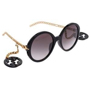 Gucci Black Acetate GG0726S Chain Detail Temple Embellished Gradient Oversized Sunglasses