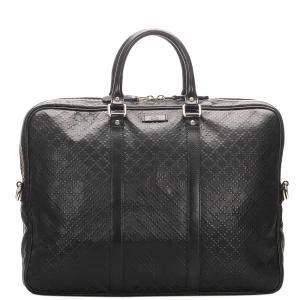 Gucci Black Diamante Leather Bright Briefcase