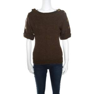 Gucci Brown Camel Wool Button Detail Short Sleeve Sweater XS