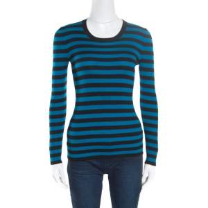 Gucci Black and Blue Striped Crew Neck Sweater XS