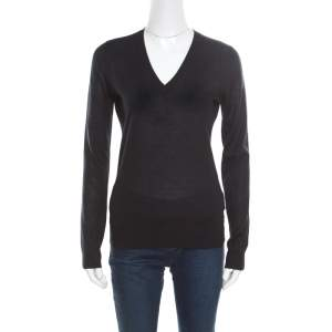 Gucci Black Cashmere Silk Knit V Neck Sweater S