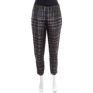 Gucci Metallic Houndstooth Pattern Silk Jacquard Skinny Trousers S