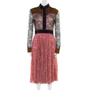 Gucci Multicolor Floral Bonded Lace Plisse Dress M