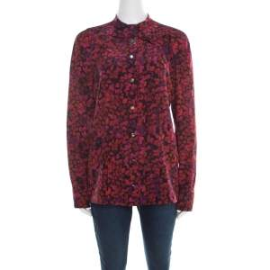 Gucci Red and Purple Floral Printed Silk Neck Bow Detail Long Sleeve Blouse M