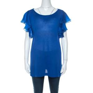 Gucci Blue Jersey and Silk Ruffled Sleeve Top S