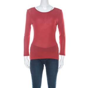 Gucci Rust Red Knit Long Sleeve Top M
