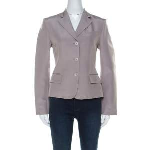 Gucci Grey Silk Blend Button Front Tailored Blazer M