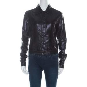Gucci Black Lurex Knit Shiny Look Jacket M