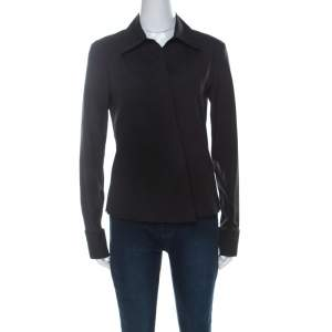 Gucci Black Cotton Cross-Over Front Gold Cuff-Link Detail Shirt M