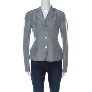 Gucci Grey Linen & Silk Blend Women's Blazer M