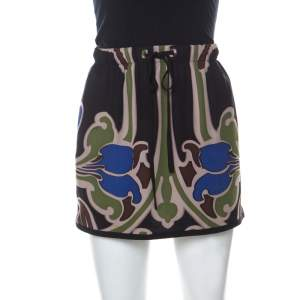 Gucci Multicolor Printed Silk Drawstring Detail Short Skirt S