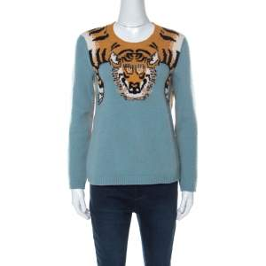 Gucci Blue Wool Tiger-Intarsia Jumper L