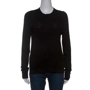 Gucci Black Diamond Knit Wool Web Stripe Detail Sweater XS
